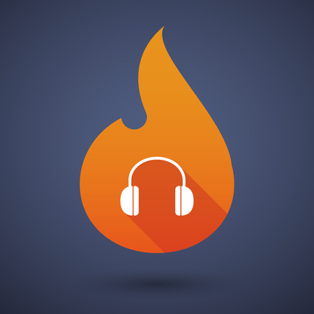 inferno: Illustration of a flame icon with a earphones