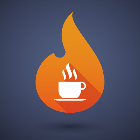 long drink: Illustration of a flame icon with a coffee cup Illustration