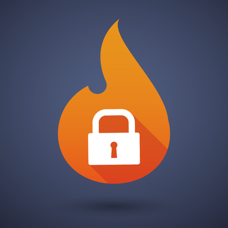 inferno: Illustration of a flame icon with a lock pad