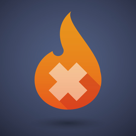 alerting: Illustration of a flame icon with an irritating subsatnce sign
