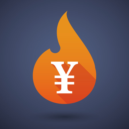 yen sign: Illustration of a flame icon with a yen sign