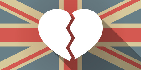 great depression: Illustration of a UK flag icon with a heart Illustration