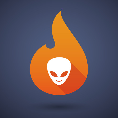 alien face: Illustration of a flame icon with an alien face