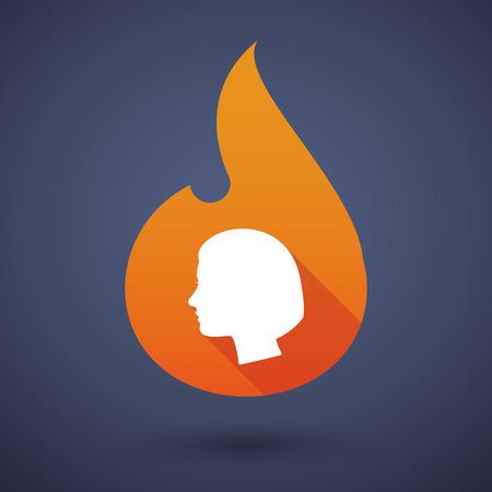 cabeza femenina: Ilustraci�n de un icono de la llama con una cabeza femenina Vectores