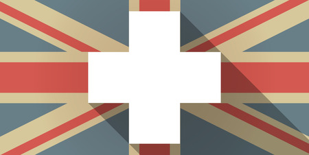 pharmacy sign: Illustration of a UK flag icon with a pharmacy sign