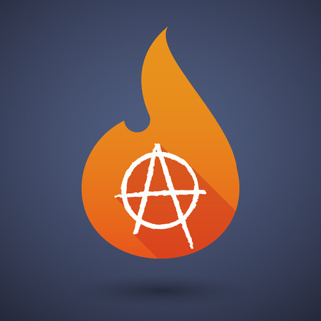 anarchist: Illustration of a flame icon with an anarchy sign