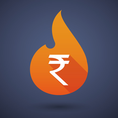 rupee: Illustration of a flame icon with a rupee sign Illustration