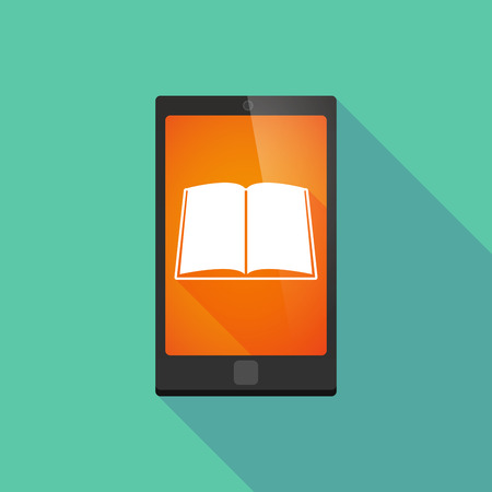 read magazine: Illustration of a long shadow phone icon with a book