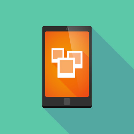 Illustration of a long shadow phone icon with a photo bunch Vector