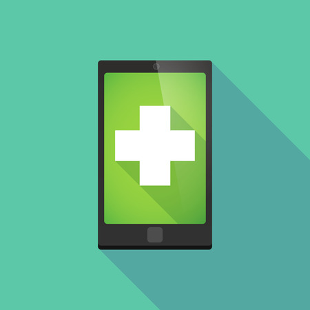 pharmacy sign: Illustration of a long shadow phone icon with a pharmacy sign Illustration