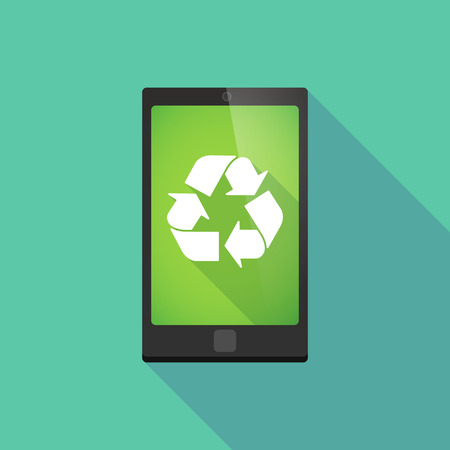 application recycle: Illustration of a long shadow phone icon with a recycle sign