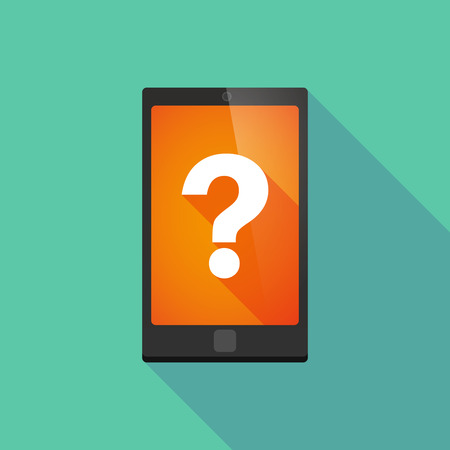 display problem: Illustration of a long shadow phone icon with a question sign