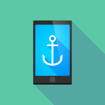 Illustration of a long shadow phone icon with an anchor Vector