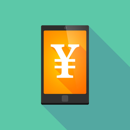 yen sign: Illustration of a long shadow phone icon with a yen sign Illustration