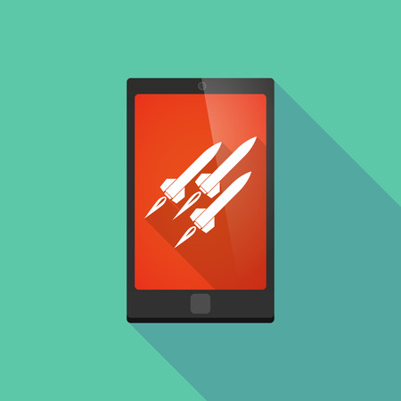 missiles: Illustration of a long shadow phone icon with missiles