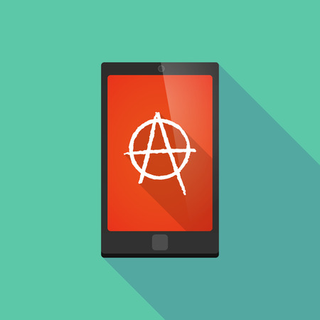 anarchy: Illustration of a long shadow phone icon with an anarchy sign Illustration