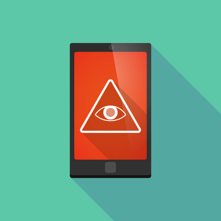 illuminati: Illustration of a long shadow phone icon with an all seeing eye Illustration