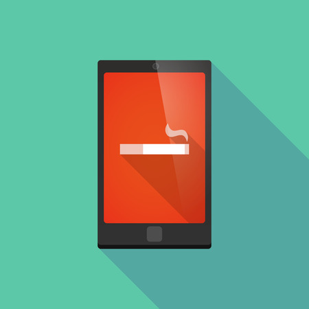 cigar shape: Illustration of a long shadow phone icon with a cigarette