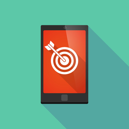 smart goals: Illustration of a long shadow phone icon with a dart board