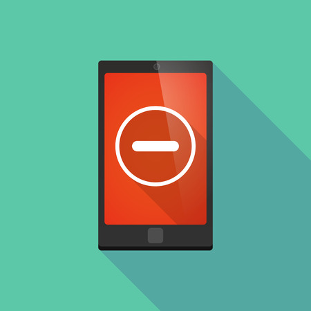 subtraction: Illustration of a long shadow phone icon with a subtraction sign