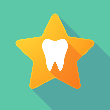 smile  teeth: Illustration of a long shadow star with a tooth