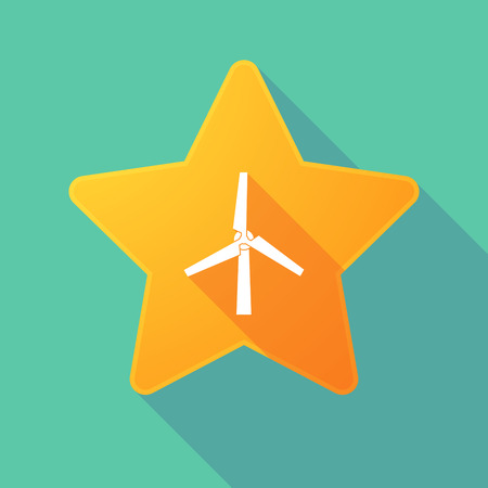 energy ranking: Illustration of a long shadow star with a wind generator Illustration