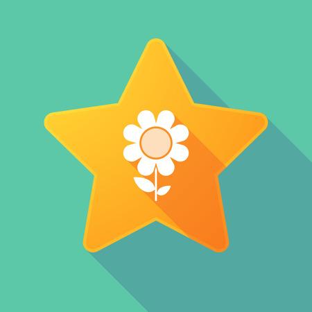 golden daisy: Illustration of a long shadow star with a daisy