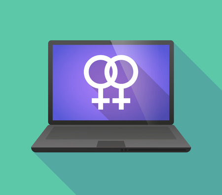 homosexual sex: Illustration of a laptop icon with a lesbian sign