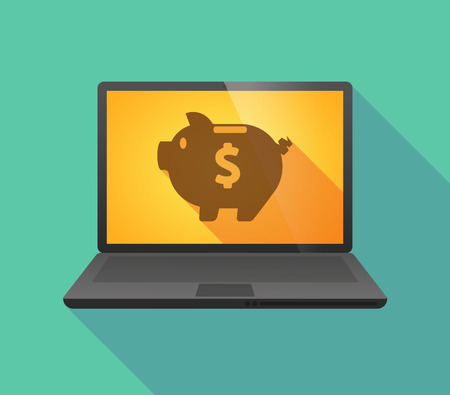 bank icon: Illustration of a laptop icon with a piggy bank