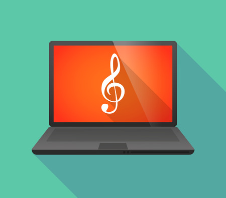 Illustration of a laptop icon with a g clef Illustration