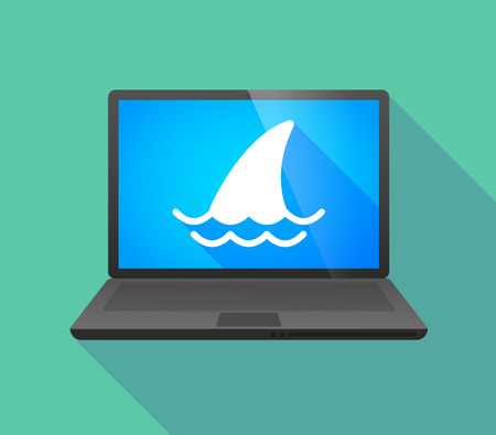 shark fin: Illustration of a laptop icon with a shark fin