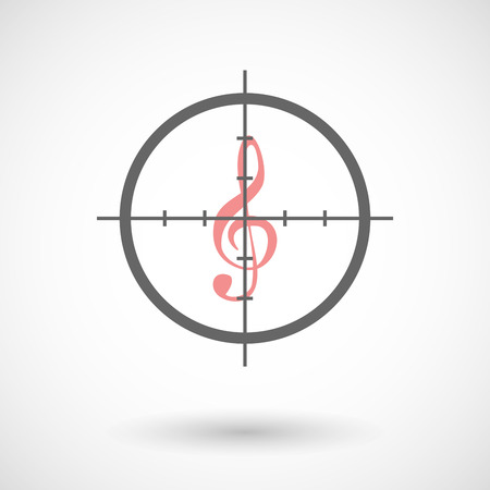 g clef: Illustration of a crosshair icon targeting a g clef