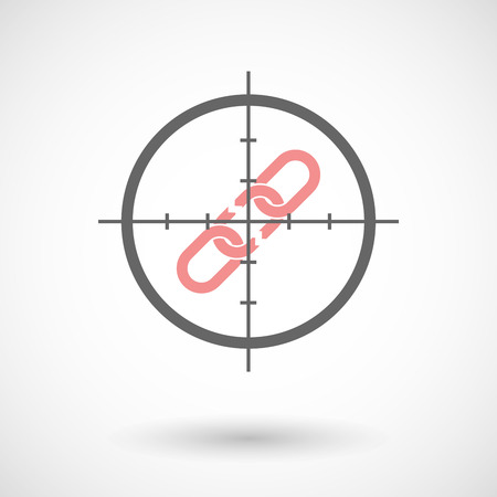 Illustration of a crosshair icon targeting a broken chain Illustration