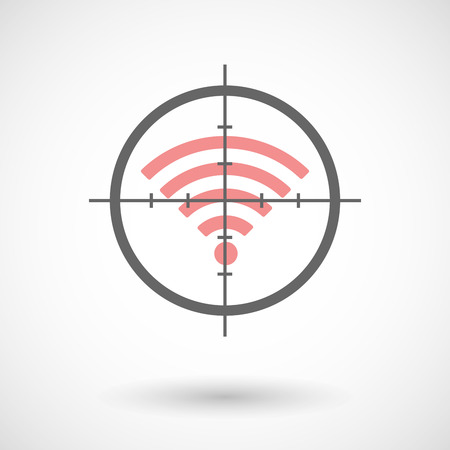 Illustration of a crosshair icon targeting a radio signal sign