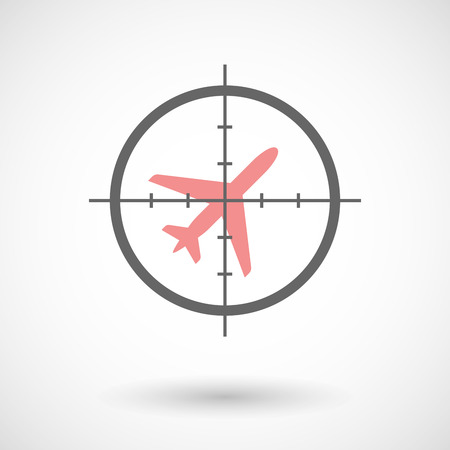 Illustration of a crosshair icon targeting a plane