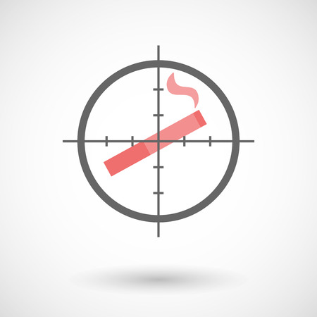 Illustration of a crosshair icon targeting a cigarette Vector