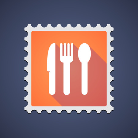 philately: Illustration of an orange mail stamp icon with cutlery