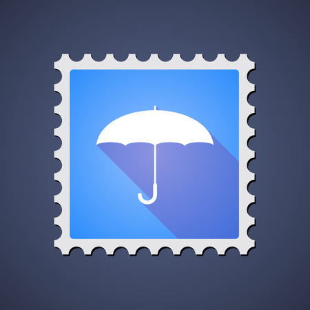 philatelist: Illustration of a blue mail stamp icon with an umbrella