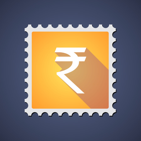 indian postal stamp: Illustration of a yellow mail stamp icon with a rupee sign
