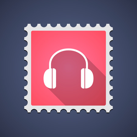 earphones: Illustration of a red mail stamp icon with a earphones
