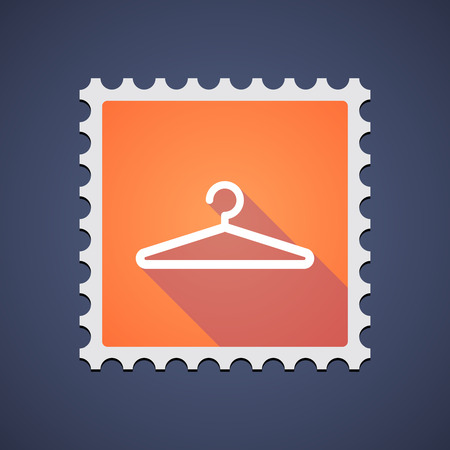 philately: Illustration of an orange mail stamp icon with a hanger
