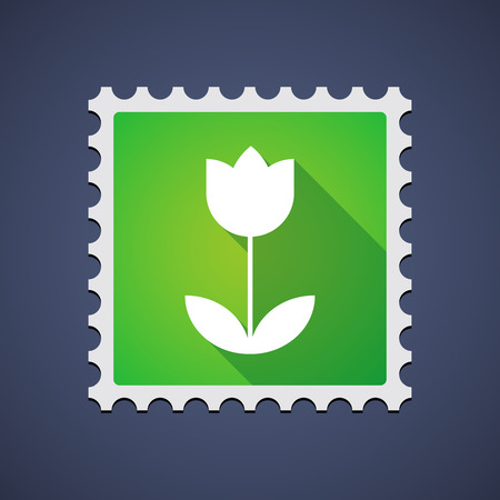 philately: Illustration of a green mail stamp icon with a tulip