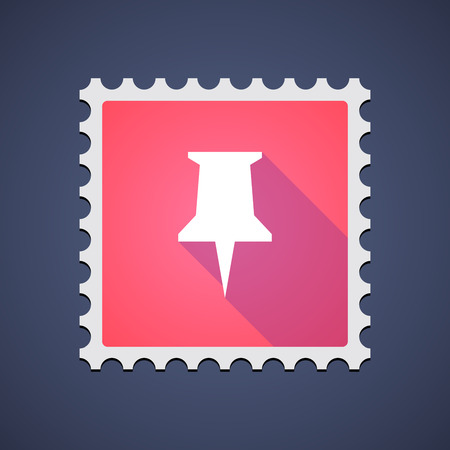 Illustration of a red mail stamp icon with a pushpin