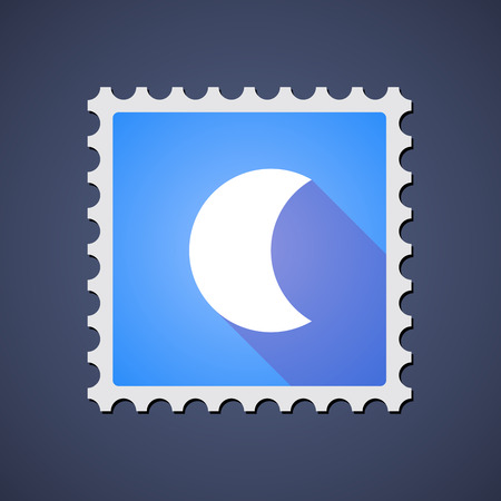 Illustration of a blue mail stamp icon with a moon