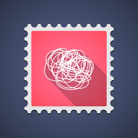 philately: Illustration of a mail stamp icon with a doodle