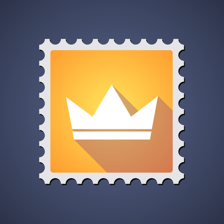 royal mail: Illustration of a yellow mail stamp icon with a crown