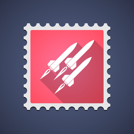 ballistic missile: Illustration of a red mail stamp icon with missiles Illustration