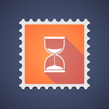 Illustration of an orange mail stamp icon with a sand clock
