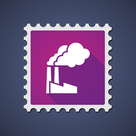 philately: Illustration of a purple mail stamp icon with a factory Illustration