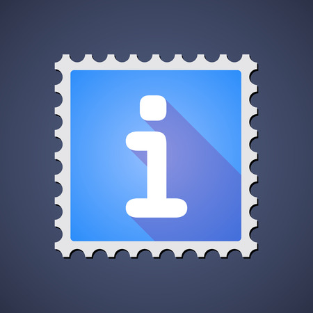 philately: Illustration of a blue mail stamp icon with an info sign Illustration